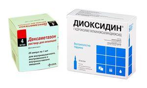 растворы Диоксидин и Дексаметазон
